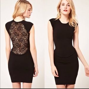 Black French Conenction Lace Back Dress Sz 6